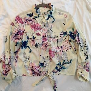 Yumi Kim floral shirt with tie at waist